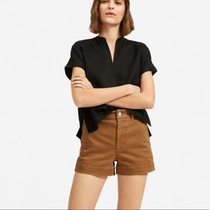 everlane linen split neck top